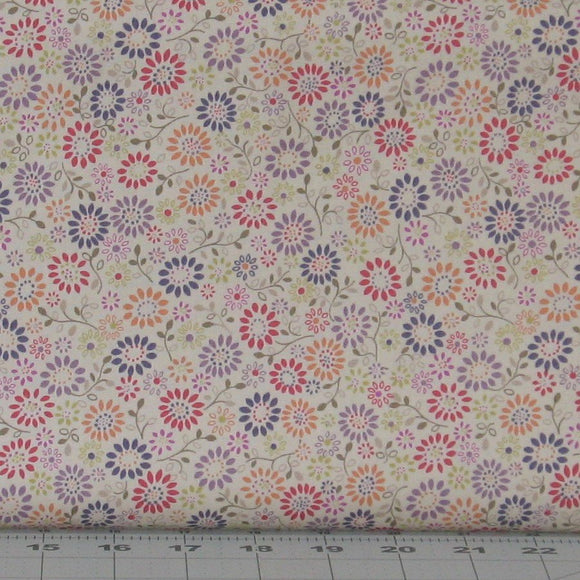 Peach, Purple, Red and Green Floral on Cream Background, Flo's Little Flowers Collection, Lewis & Irene