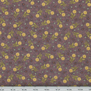 Gold, Green and Teal Floral on Dusty Purple, My Back Porch Collection, Janet Rae Nesbitt