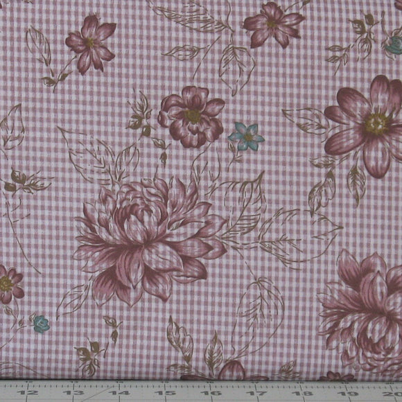 Dark Purple and Teal Floral on a Dusty Purple Check, My Back Porch Collection by Janet Rae Nesbitt
