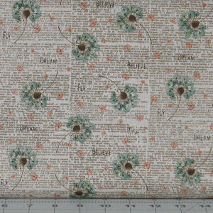 Teal and Orange Floral with Brown Text on Tan from the Itty Bitty Collection by Janet Rae Nesbitt for Henry Glass Fabrics, 2144-34