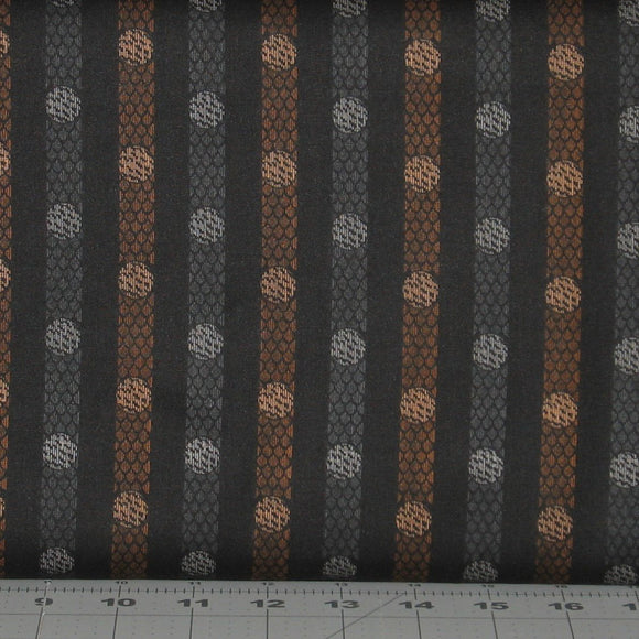 Black, Gray and Brown Textured Stripe from the Itty Bitty Collection by Janet Rae Nesbitt for Henry Glass Fabrics, 2150-99