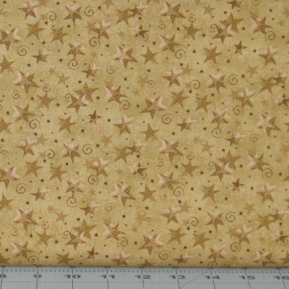 Golden Brown Tonal Stars and Swirls from the Itty Bitty Collection by Janet Rae Nesbitt for Henry Glass Fabrics, 2152-32
