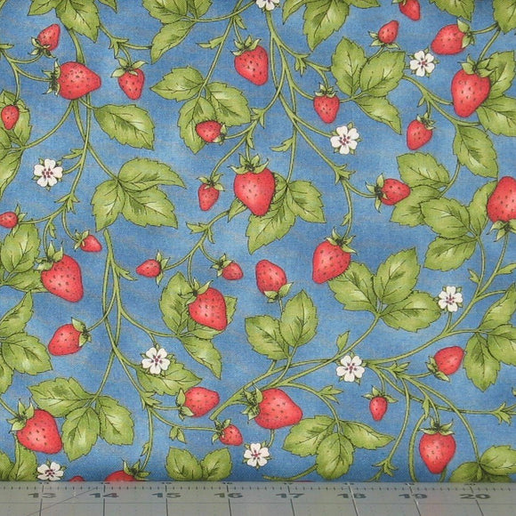 Fresh Strawberries in Blue from the From the Farm Collection by Maywood Studio, 8285-B