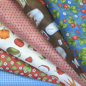 6 Fruit and Vegetable Fabrics in Red, Green and Blue from the From the Farm Collection by Maywood Studio