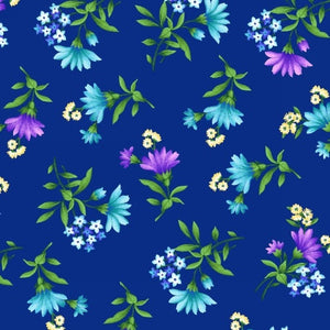 Wildflower Toss in Blue from the Botanica Blooms Collection by Color Principle for Henry Glass Fabrics, 8939-77