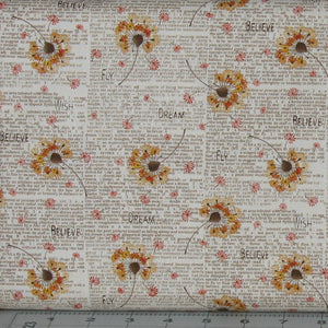 Gold and Orange Floral with Brown Text on Cream from the Itty Bitty Collection by Janet Rae Nesbitt for Henry Glass Fabrics, 2144-44
