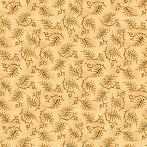 Sawtooth Leaves in Cream from the Wit and Wisdom Collection by Kim Diehl for Henry Glass Fabrics, 1431-44