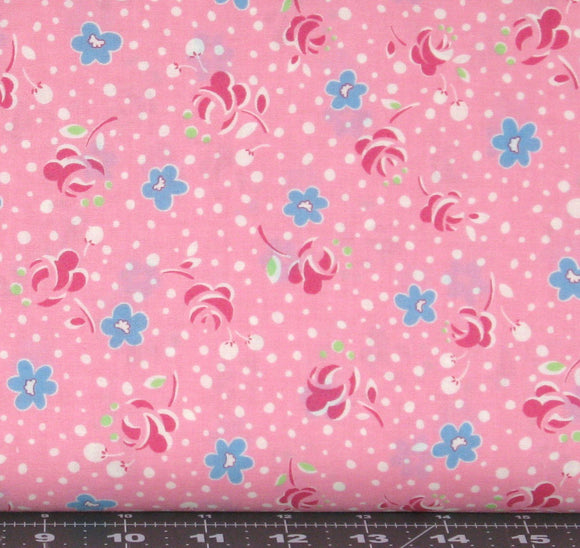 Red and Blue Flowers with White Dots on Pink from Retro 30's Child Smile Collection by Lecien Fabrics, 31143-20