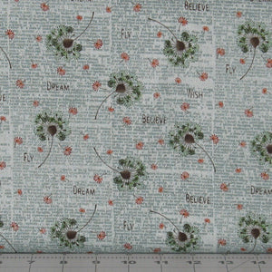 Green and Orange Floral with Teal Text on Light Teal from the Itty Bitty Collection by Janet Rae Nesbitt for Henry Glass Fabrics, 2144-17