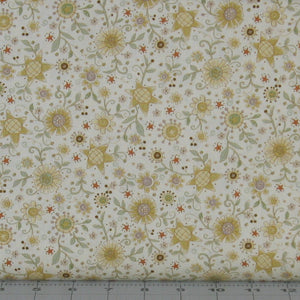 Gold, Gray Green, and Brown Floral on Cream from the Itty Bitty Collection by Janet Rae Nesbitt for Henry Glass Fabrics, 2145-44