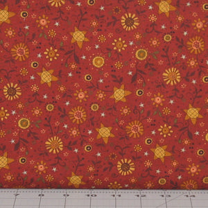 Gold and Brown Floral on Dark Rusty Red Background from the Itty Bitty Collection by Janet Rae Nesbitt for Henry Glass Fabrics, 2145-88