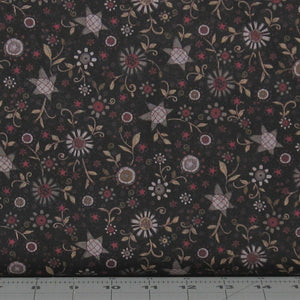 Gray, Burgundy and Tan Floral on Black from the Itty Bitty Collection by Janet Rae Nesbitt for Henry Glass Fabrics, 2145-99
