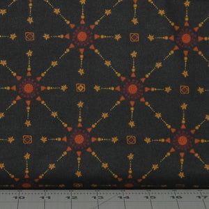 Gold, Red and Orange Stars on Black from the Itty Bitty Collection by Janet Rae Nesbitt for Henry Glass Fabrics, 2147-99