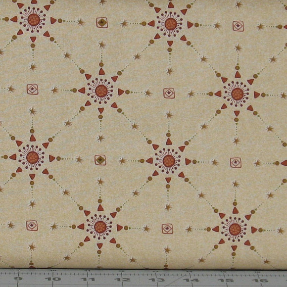 Red, Brown and Orange Stars on Tan from the Itty Bitty Collection by Janet Rae Nesbitt for Henry Glass Fabrics, 2147-44