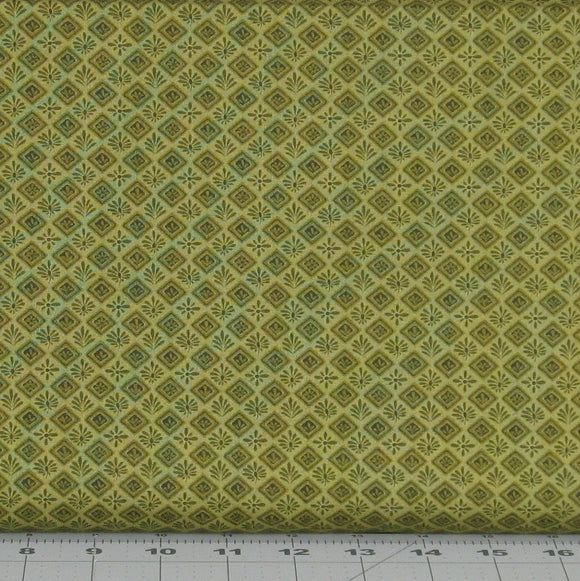 Olive Green Tonal Floral in a Diamond Design from the Itty Bitty Collection by Janet Rae Nesbitt for Henry Glass Fabrics, 2148-66