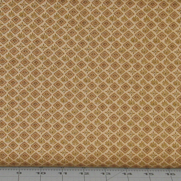 Golden Tan Tonal Floral in a Diamond Design from the Itty Bitty Collection by Janet Rae Nesbitt for Henry Glass Fabrics, 2148-33