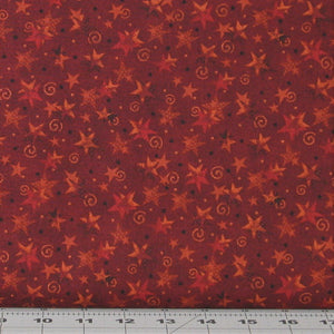 Rusty Red Tone on Tone Stars and Swirls from the Itty Bitty Collection by Janet Rae Nesbitt of One Sister Designs for Henry Glass Fabrics, 2152-88