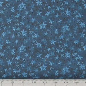 Blue Tonal Stars and Swirls from the Itty Bitty Collection by Janet Rae Nesbitt for Henry Glass Fabrics, 2152-77