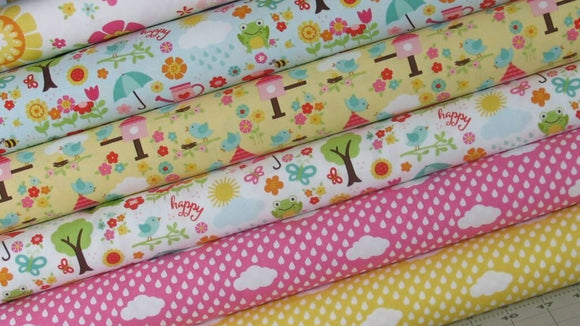 Six Fabrics from the Bloom Where You're Planted Collection by Lori Whitlock for Riley Blake Fabrics