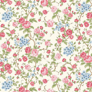 Large Floral in Cream, Morning in the Garden, Mary Jane Carey, Henry Glass Fabrics