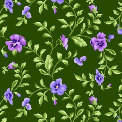 railing Pansy in Green from Emma's Garden Collection by Debbie Beaves for Maywood Studio, 9173-G