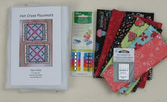 Hot Cross Placemats Kit with Sprinkle Sunshine Fabrics and Hot Cross Pattern Plus Notions, Batting, and Backing
