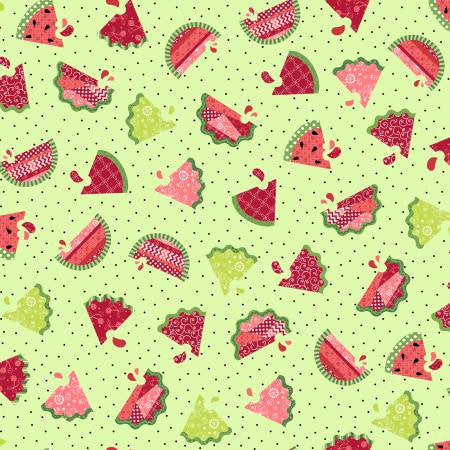 Watermelon Patch in Green from the Sprinkle Sunshine Collection by Kimberbell Designs for Maywood Studio, 8251-G