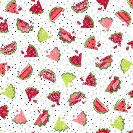 Watermelon Patch in White from the Sprinkle Sunshine Collection by Kimberbell Designs for Maywood Studio, 8251-W