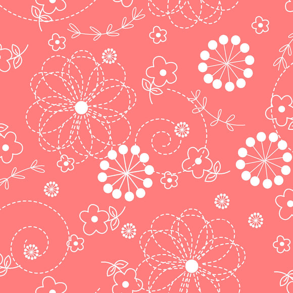 Doodles in Coral Pink from the Basics Collection by Kimberbell Designs for Maywood Studio