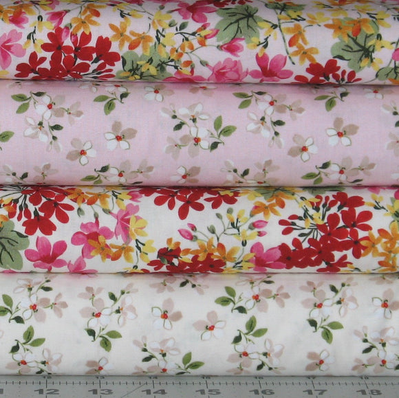 4 Fabrics from Farmhouse Florals Collection, Nancy Ziemann, Penny Rose Fabrics