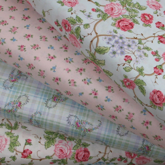 Four Pink, Blue and Cream Floral Fabrics, Morning in the Garden, Mary Jane Carey, Henry Glass Fabrics