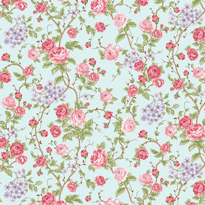 Large Floral in Aqua, Morning in the Garden, Mary Jane Carey, Henry Glass Fabrics