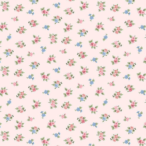 Pink, Blue and Green Small Floral on Pink, Morning in the Garden, Mary Jane Carey, Henry Glass Fabrics