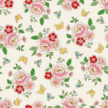 Jardin Main Print in Cream, Mon Beau Jardin Collection, Nadra Ridgeway, Penny Rose Fabrics