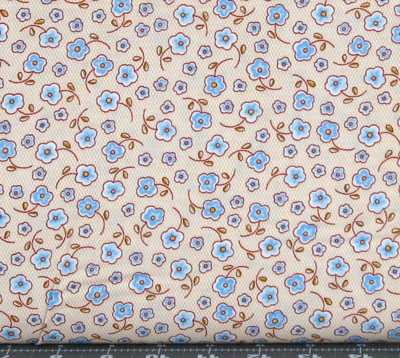 Light Blue and Brown Flowers on Light Gold from the Prairie Yard Goods from RJR Fabrics, 2315-2