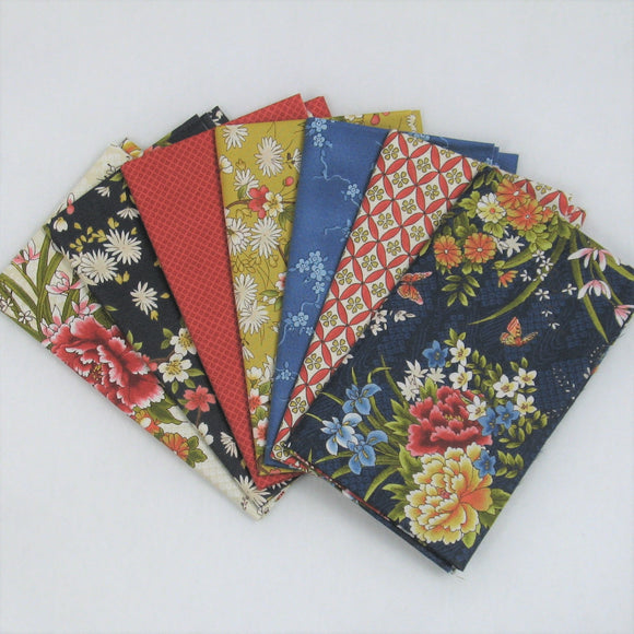 Seven Blue, Red, Gold & Green Fabrics from the Japanese Gardens Collection by Maywood Studio