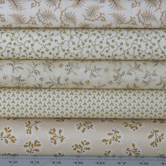 5 Light Prints from Kim Diehl's Wit & Wisdom and Helping Hands Collections for Henry Glass Fabrics, 100% Cotton Quilt Fabric Bundle