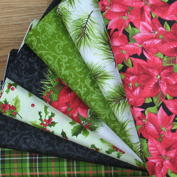 7 Christmas Themed Fabrics from the Poinsettia & Pine collection by Maywood Studio, Quilt Fabric Bundle, Red, Green, White, Black