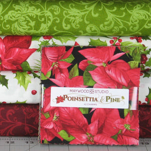 poinsettia and pine 4 fabric bundle