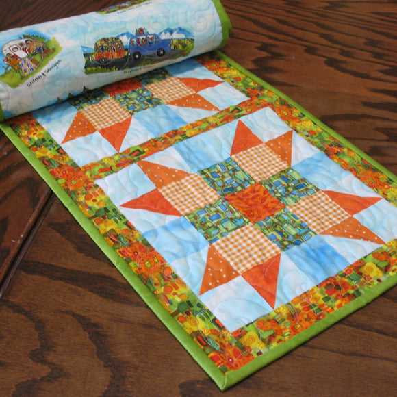 Precut Sister's Choice Table Runner Quilt Kit using Quilter's Road Trip Fabrics by Kathy Deggendorfer, Fabric for Top & Binding + Pattern