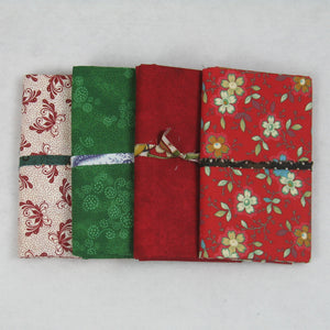 red green white fabric bundle