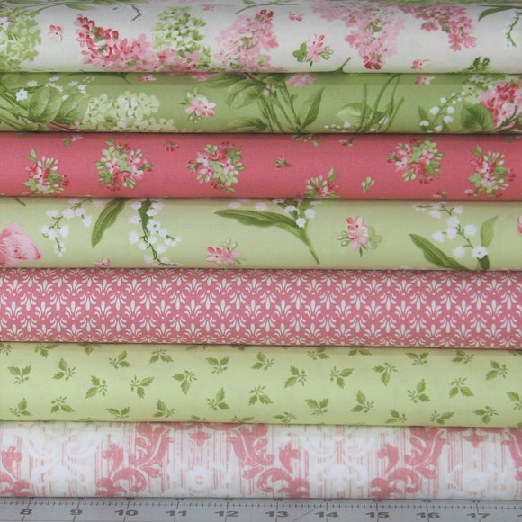 7 Pink, Green and Soft White Fabrics for Sale, Sensibility Collection by Maywood Studio, Cotton Quilt Fabric Bundle