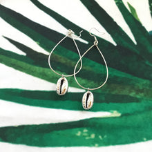 Load image into Gallery viewer, Silver Cowrie Hoops