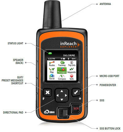 DeLorme inReach Explorer with feature pointers