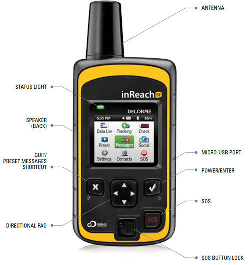 DeLorme inReach SE with feature pointers