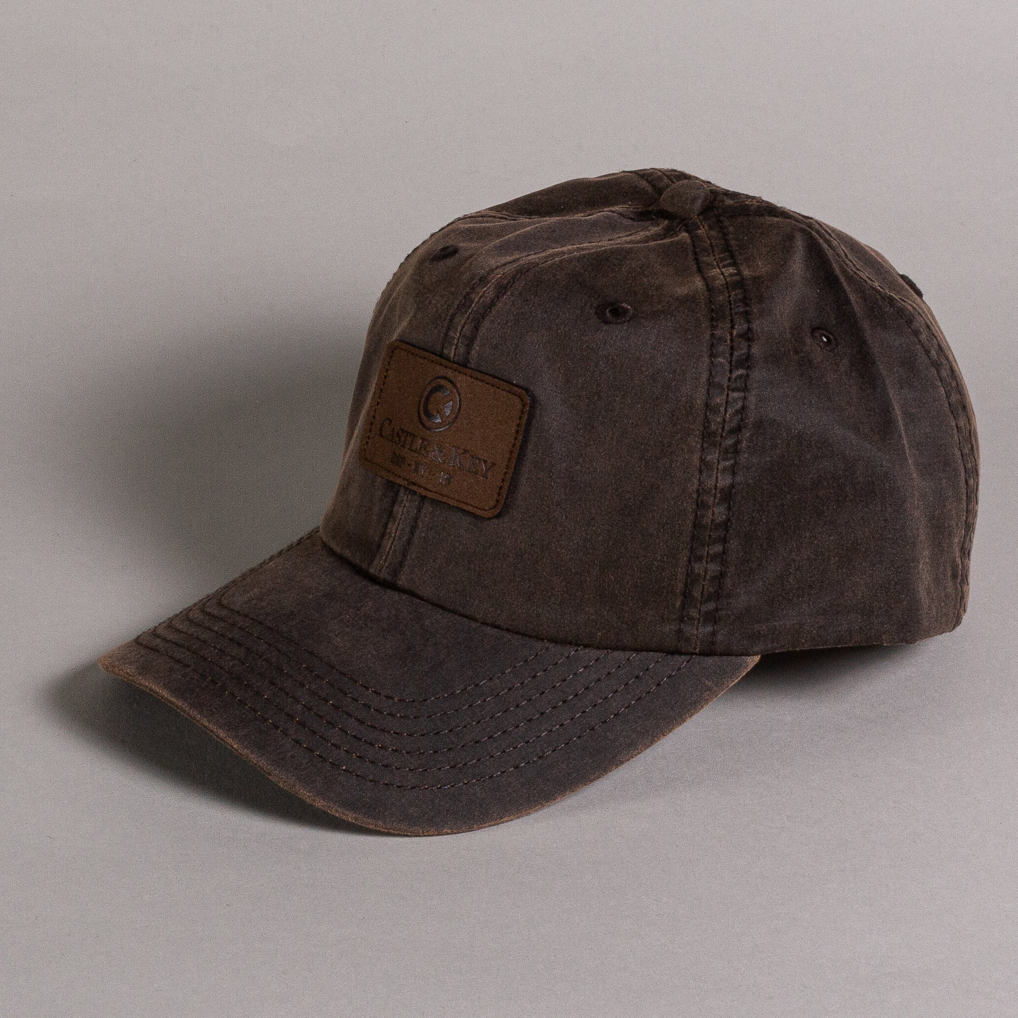 Washed Wax Castle & Key Logo Leather Patch Hat