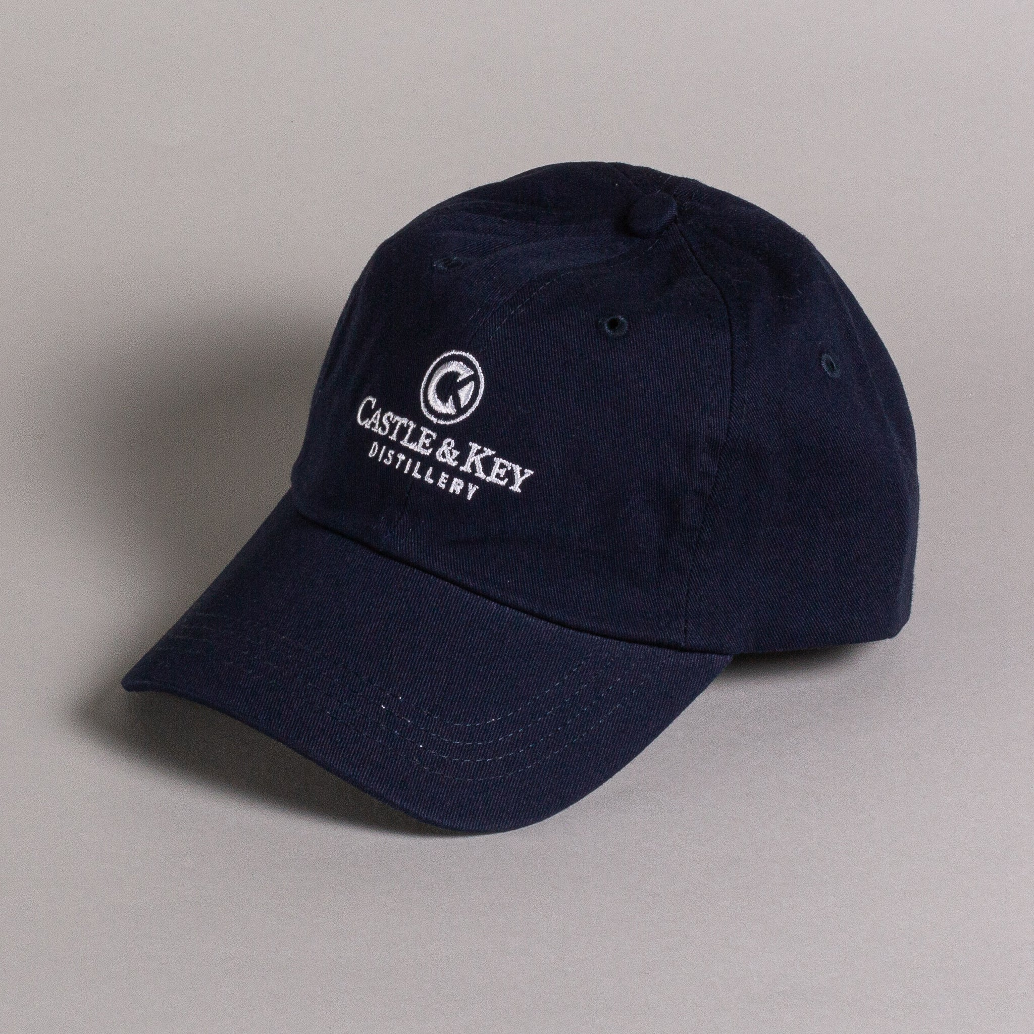 Navy Castle & Key Logo Small Fit Hat