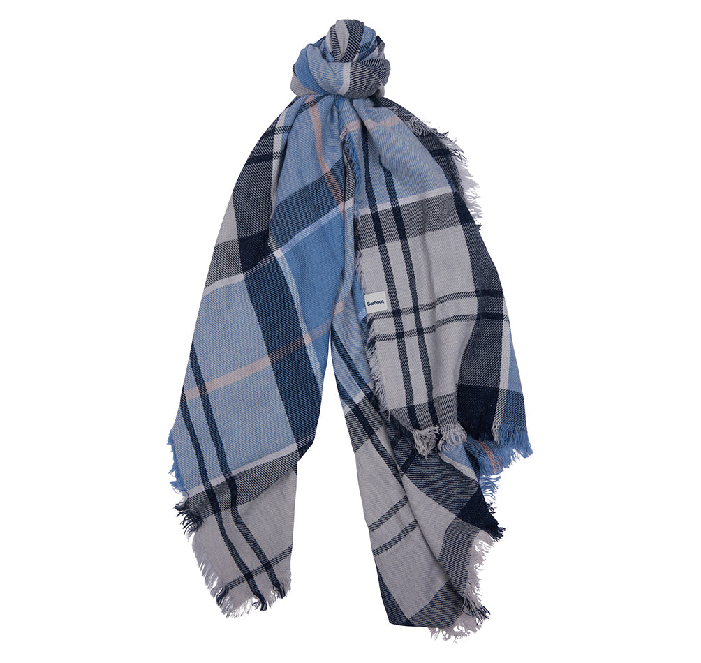 Barbour Freya Wrap Blue Tartan
