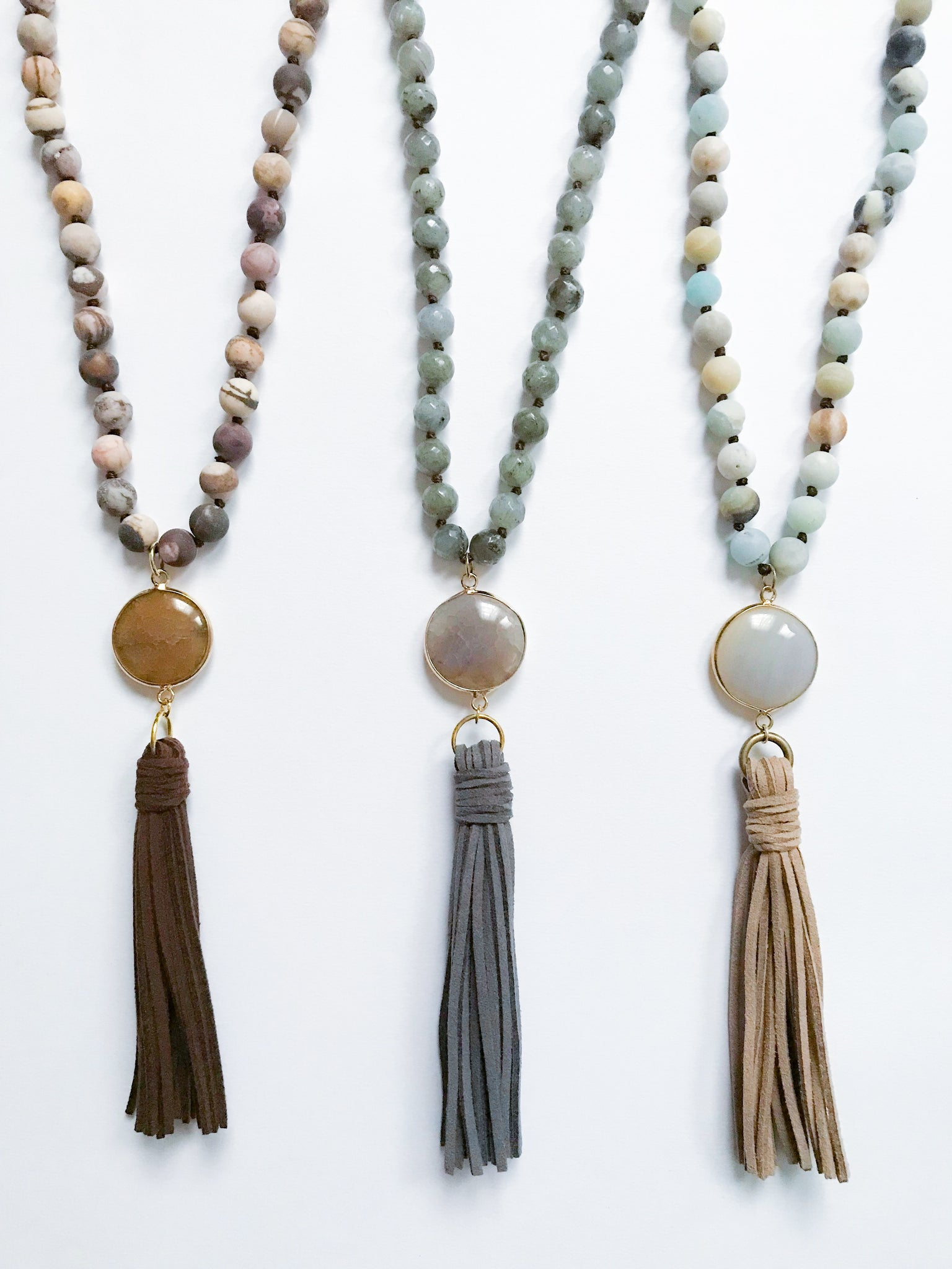 Natural Stone Tassel Necklace