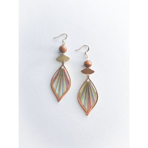 Wood and Thread Earrings
